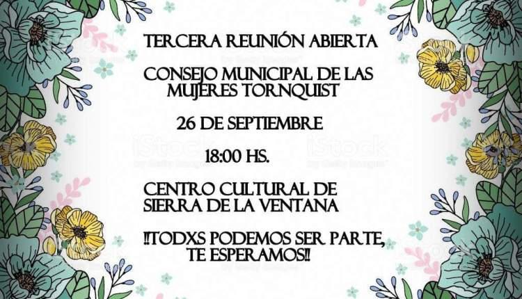 Sierra de la Ventana – Invitación a la «3º Reunión del Consejo Municipal de las Mujeres»