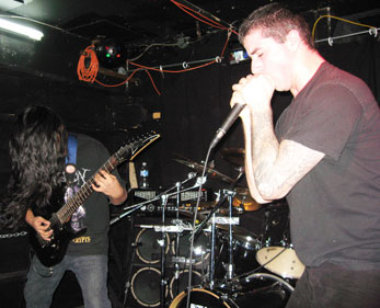 Vocalist Olivier Nabico performs with his death metal band Mortify at the Savage Garden venue in Toronto.