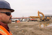 Site superintendent Rick Sheppard looks over the construction site at 1145 Mornigside Avenue, where Chand Morningside Plaza is slated for completion by August 2009. (Gesilayefa Azorbo/Toronto Observer)