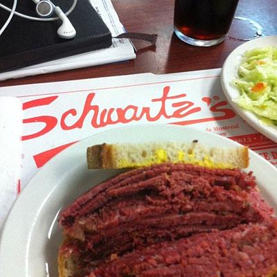 Smoked meat sandwich from Schwartz's Deli