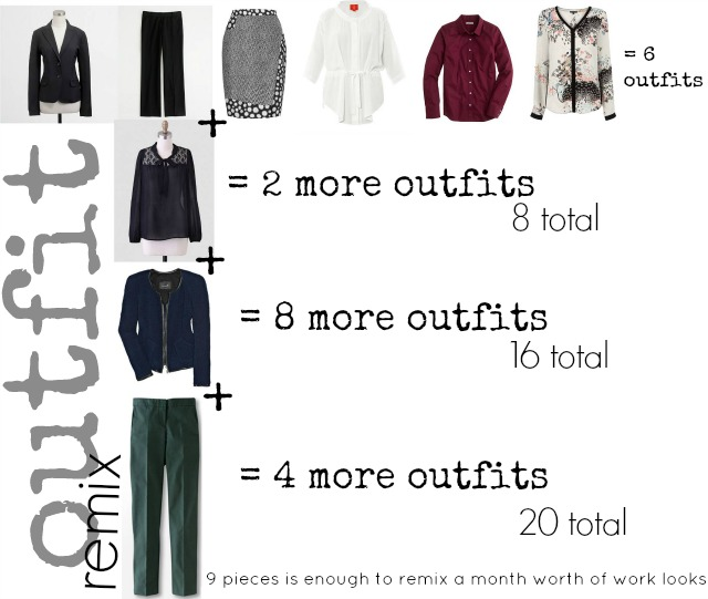 remix work outfits, mix and match outfits, work wardrobe