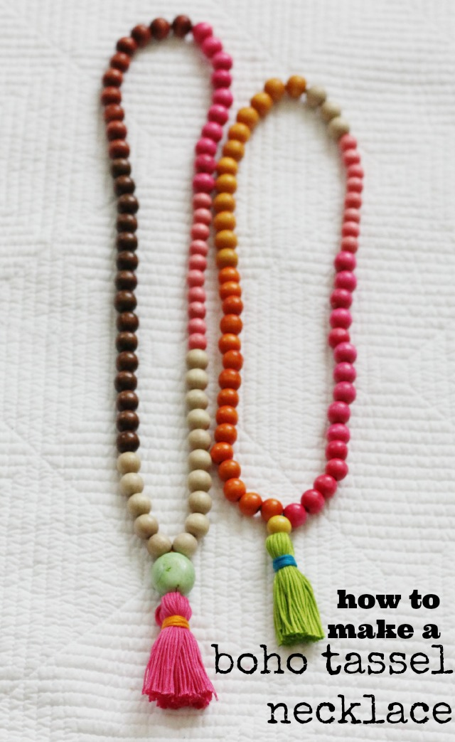 how to make a boho tassel necklace, diy tassel necklace, mala tassel