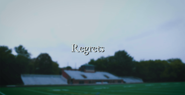 This is a still from the beginning of the film, featuring the title of the short and a high school's football field in the background. The film centers around the notion of ruminating on the past and realizing where a path decidedly forked not in our favor. What better place to begin this journey than on a high school football field, where dreams both come true and are destroyed beyond recognition.