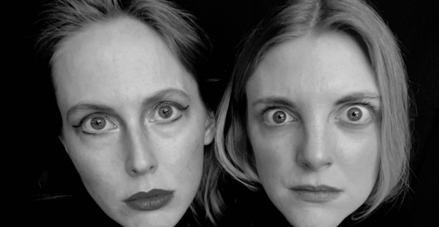 A black & white sketch duo headshot. Lauren and Katrina wear black turtlenecks against a black backdrop. It looks like their heads are floating, as they stare intensely into the camera.