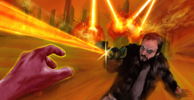 An illustrated image from the Fog and Lasers 2 album cover. Rodrigo Fernandez-Stoll is having a fiery, laser battle. The only thing we see of the enemy is a red hand reaching out from the bottom left corner.