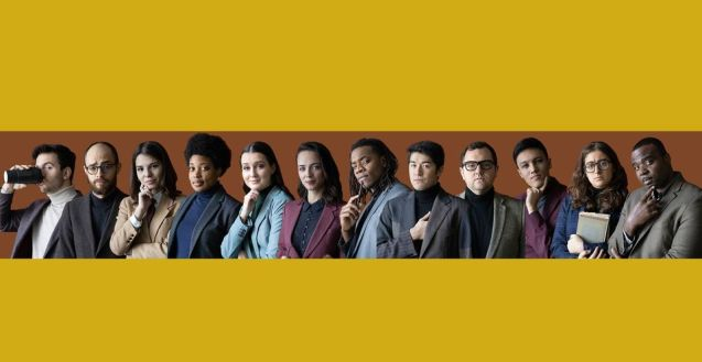 The 12 members of Young Douglas in a row, all in business attire. The top and bottom of the graphic are solid yellow colour blocks.