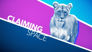 """Image: A blue, white and purple graphic. The white text reads """"Claiming Space"""" and just above it to the right is a stylized lioness"""