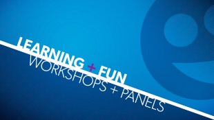 A blue, white and purple graphic. The white text reads Learning + Fun, Workshops + Panels and just above it to the right is a stylized a TOsketchfest icon