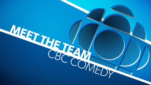 """A blue and white graphic with white text that reads """"Meet The Team, CBC Comedy"""". On the right side is a stylized blue version of the classic CBC """"gem symbol"""" logo"""