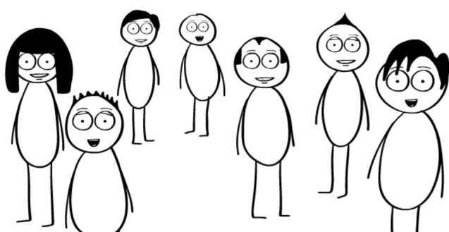 Seven Black and White cartoon figures standing in a group with various looks of joy and delight on their faces.