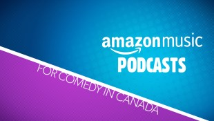 Amazon Music Podcasts for Comedy in Canada graphic in purple, blue and white.