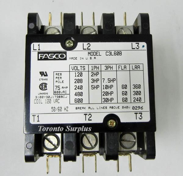 Fasco C3l60b Magnetic Contactor Definite Purpose 3 Pole