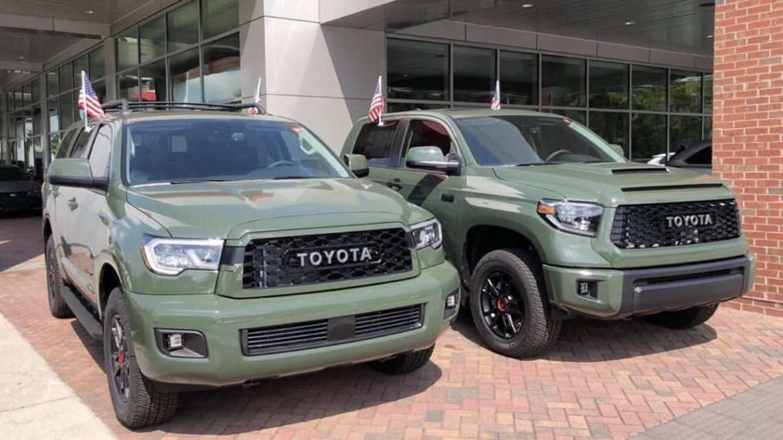 see all 2020 toyota army green trd pro models together