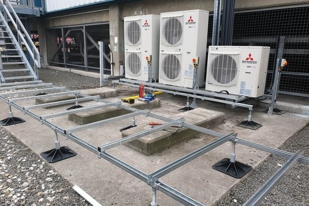 A Big Foot frame system is erected to mount the condensing units on outside the electrical substation at VPI Immingham.