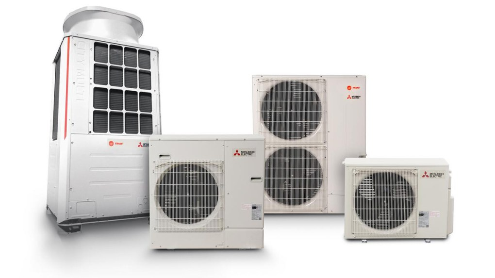 Different sizes of Mitsubishi air conditioning condensers including a VRF