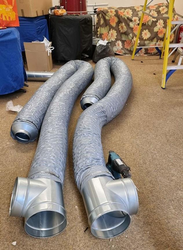 Swinton Brass Band ducting installation
