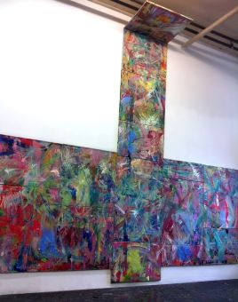 "<p style=""font-size: 13px;""><strong>Data Center #2</strong> <p style=""text-align: center;"">2015- 2016. Oil, acrylic, encaustic, enamel and oil pastels on canvas. 157 x 120 inches."