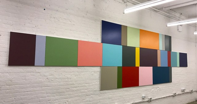 "<p style=""font-size: 13px;""><strong>Data Center #11</strong> <p style=""text-align: center;"">2016. Enamel on canvas. 72 x 285 inches."