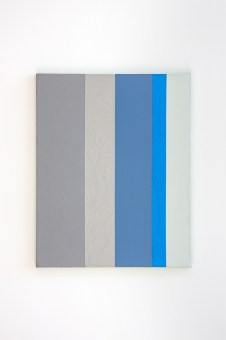 """<p style=""""font-size: 13px;""""><strong>Data #6</strong> <p style=""""text-align: center;"""">2016. Enamel and oil on canvas. 20 x 16 inches."""