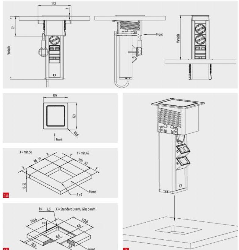 Torretta elettrica squadrata multipresa estraibile a 3 prese schuko mod tmqc torrette - Prese elettriche cucina ...