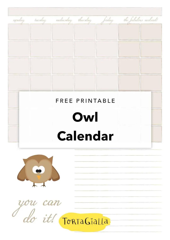 free printable owl calendar