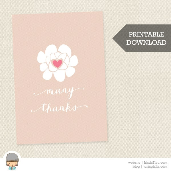 Free Printable Thank You Card Soft Floral Many Thanks Card