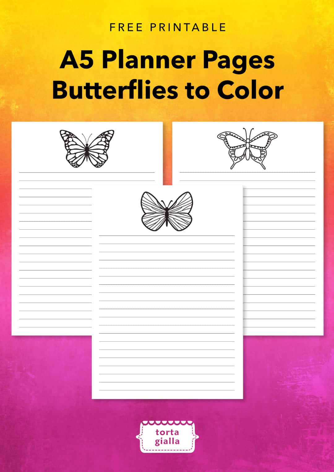 Free Printable A5 Planner Pages Butterflies To Color Tortagialla