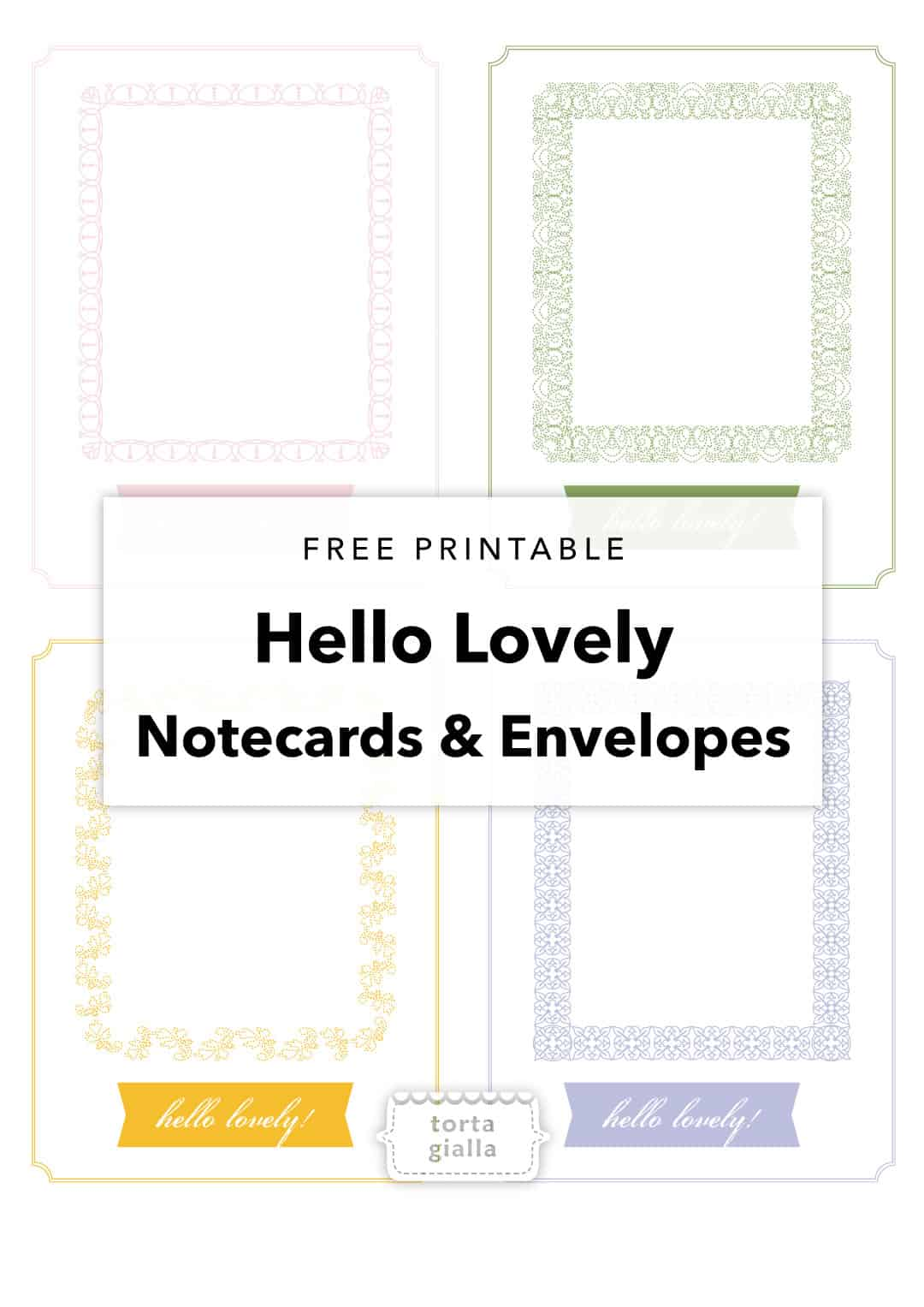 graphic about Printable Notecard identify Hello there Stunning Printable Notecard and Envelopes tortagialla