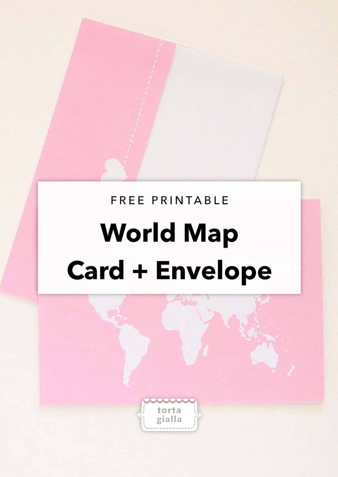 photo relating to Printable Thinking of You Card called Cost-free Printable Pondering of By yourself Global Map Card and Envelope