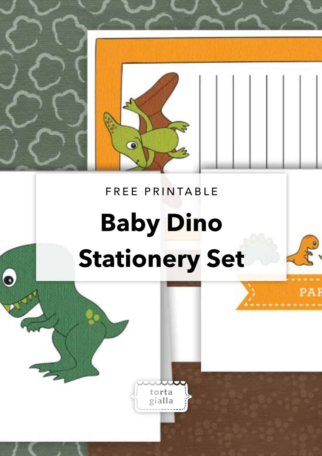 free printable baby dino stationery set