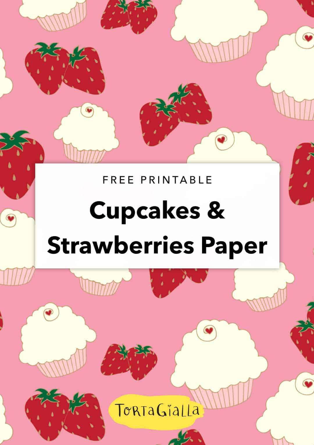 Looking for sweet and pink scrapbooking paper? Download this free  pink digital paper featuring cute strawberries and cupcakes.