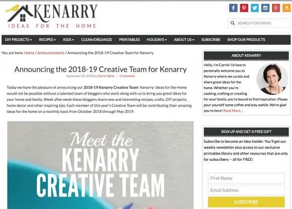 2018-19 Creative Team for Kenarry