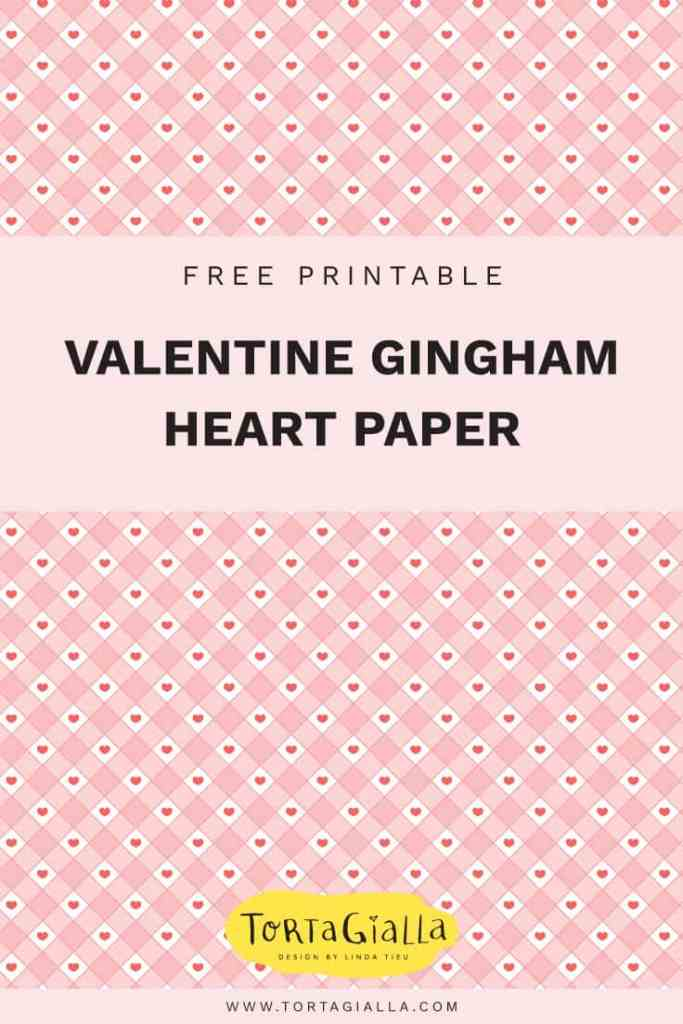 Valentine gingham heart paper - free printable on tortagialla.com