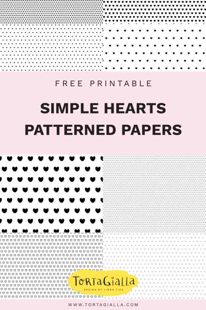 Free printable set of black and white heart paper printables - small and large pattern of simple repeating hearts from tortagialla.com
