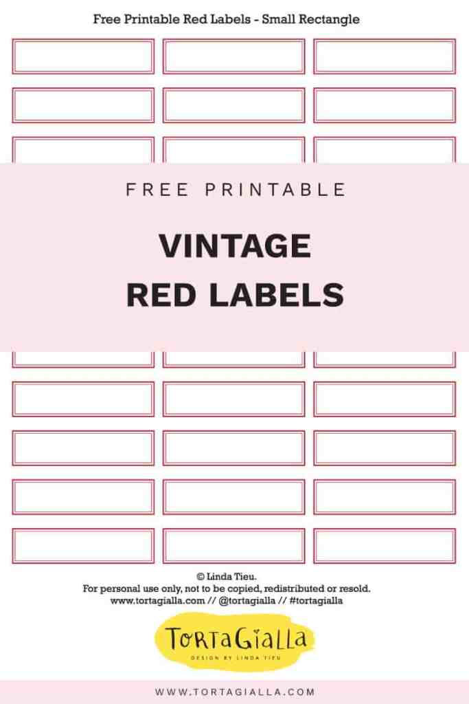 Free Printable Vintage Red Labels - Free download on tortagialla.com for the classic red label in small rectangle, large rectangle, square and circle shapes.