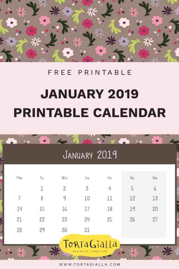 January 2019 Printable Calendar // Free Printable in both LETTER and A4 sizes // tortagialla.com