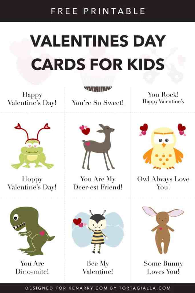 Free printable Valentine's Day Cards - Especially for Kids - Free download on Kenarry.com guest post by tortagialla.com
