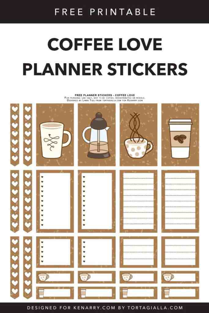 Coffee Love Planner Stickers - designed for Kenarry.com