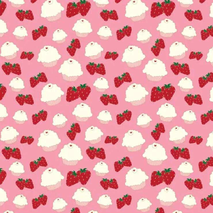 Cupcake and Strawberries Printable Paper