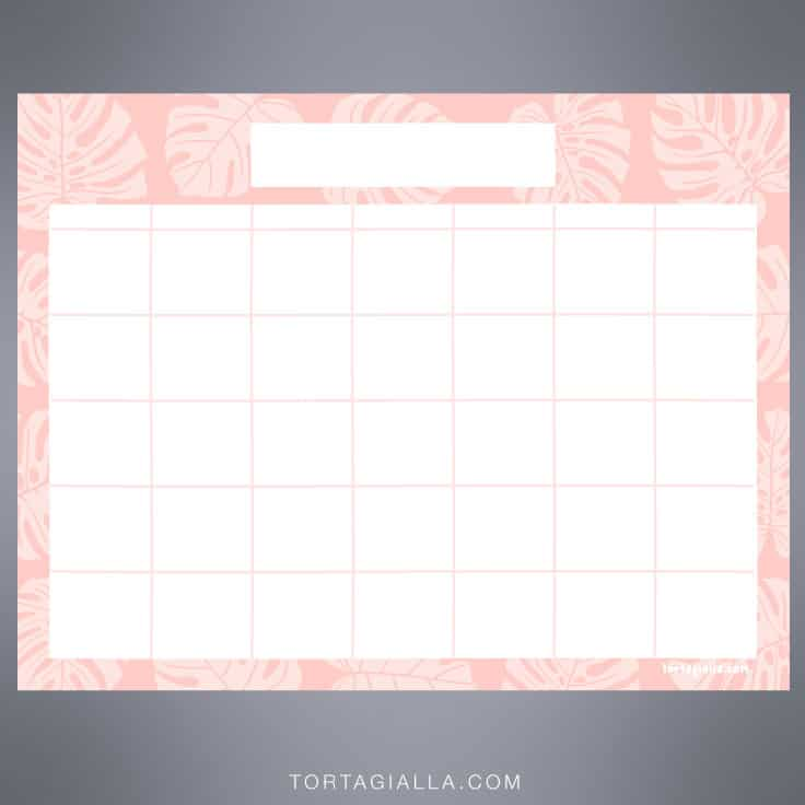 Your bank may not offer free checks, and perhaps you want to save the cost of buying checks. Printable Blank Calendar (it's pretty and FREE!) | tortagialla