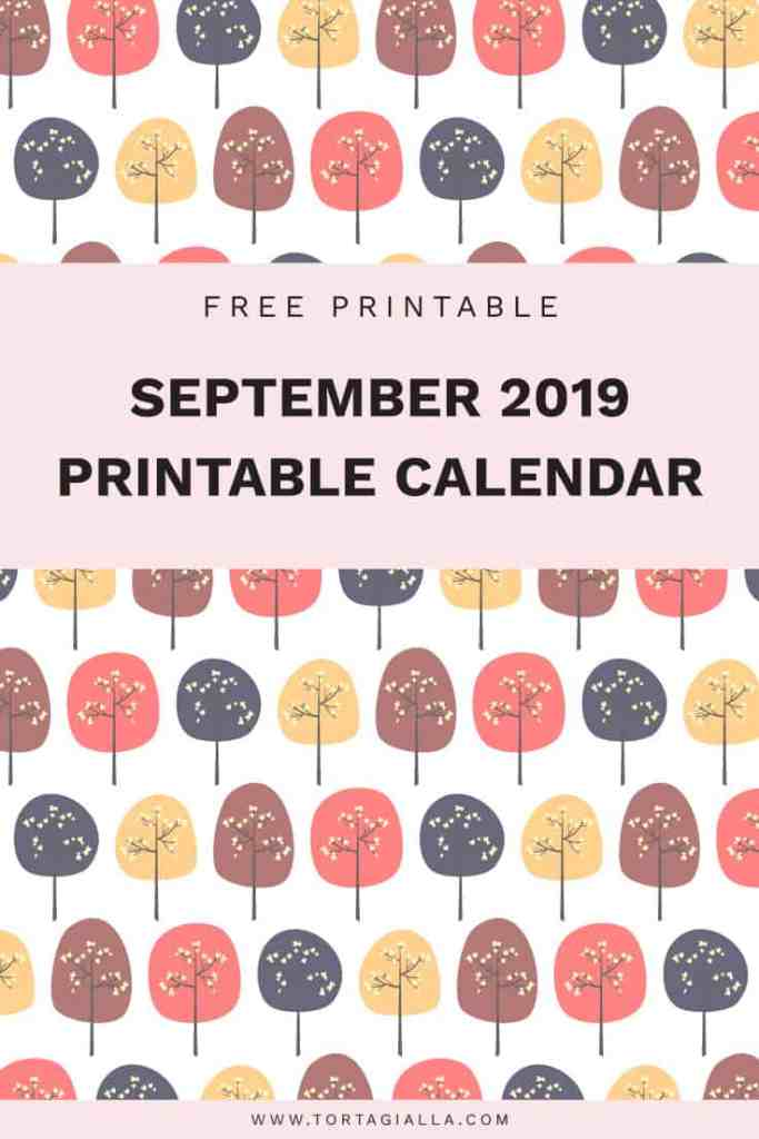 september 2019 printable calendar - free download on tortagialla.com