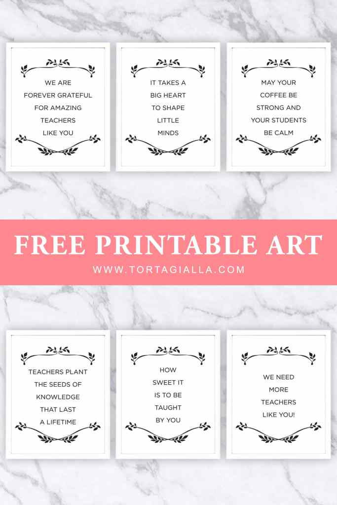 Free printable teacher appreciation quotes, great for framing and gifting or as gift tags, cards and other DIY projects to give to teachers!