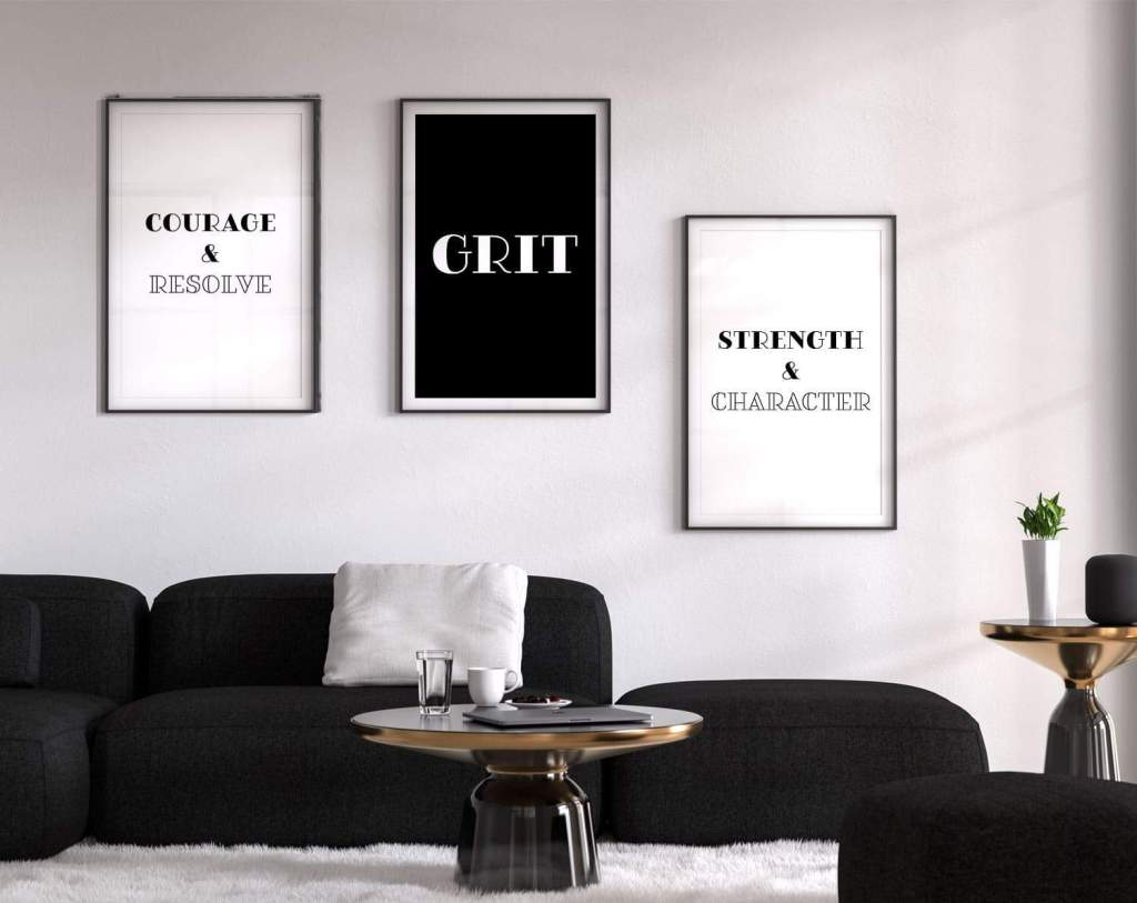 Set of 3 prints around Grit and definition including courage and resolve, strength and character. Free printables on tortagialla.com