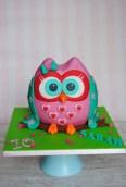 3D Eulen Torte in rosa