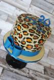 Leoparden Torte Kuchen blau schleife malen Geburtstag oben