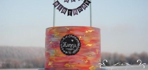 Laktosefreie Torte Geburtstag gemalt mit Gold