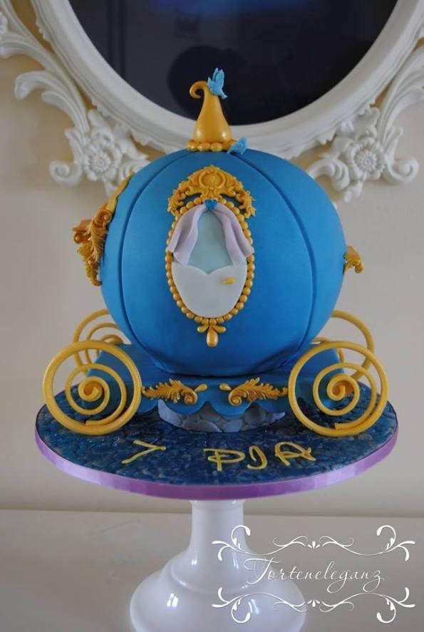 Cinderella Kindergeburtstag 3D Torte Candy und Deko goldene Räder