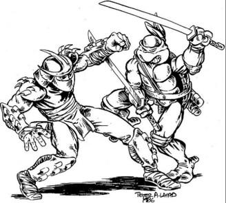 Leonardo VS Shredder Comics 1986 Peter Laird