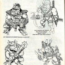 Concept Art préparatoires Bebop et Rocksteady 1987 Tortues Ninja Turtles TMNT