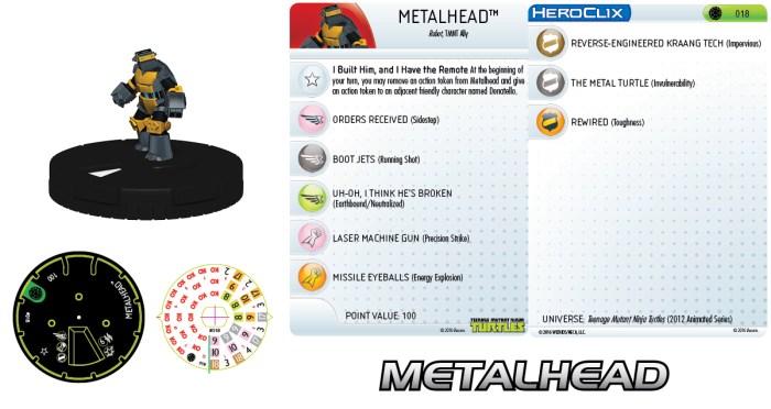 HeroClix fiche #018 Metalhead Nickelodeon 2016 Tortues Ninja Turtles TMNT